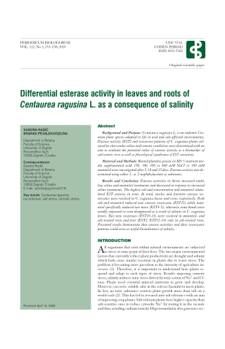 Differential esterase activity in leaves and roots ofCentaurea ragusina L. as a consequence of salinity