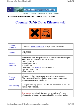 Chemical Safety Data: Ethanoic acid