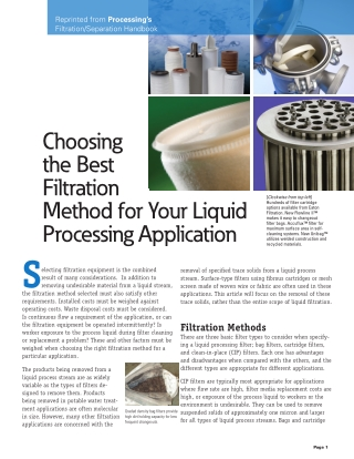 Choosing the Best Filtration Method for Your Liquid Processing Application