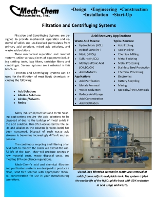 Filtration and Centrifuging Systems