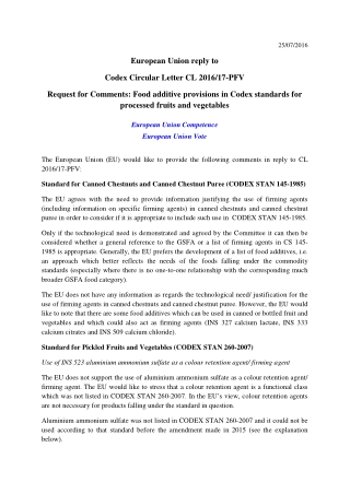 European Union reply to Codex Circular Letter CL 2016/17-PFV Request for Comments: Food additive provisions in Codex standards for processed fruits and vegetables