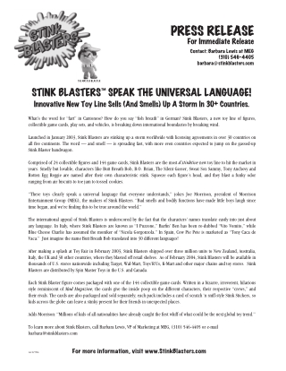 "What's the word for ""fart"" in Cantonese? How do you say ""fish breath"" in German? Stink Blasters, a new toy line of figures, collectible game cards, play sets, and vehicles, is breaking"