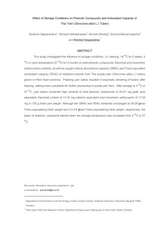 Effect of Storage Conditions on Phenolic Compounds and Antioxidant Capacity of Thai Yam (