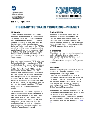 FIBER-OPTIC TRAIN TRACKING – PHASE 1