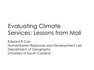 Evaluating Climate Services: Lessons from Mali