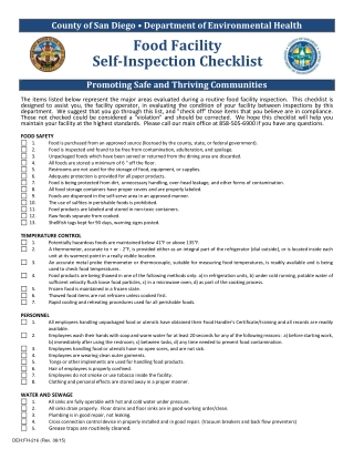 Food Facility Self-Inspection Checklist
