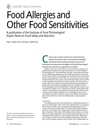 Food Allergies and Other Food Sensitivities