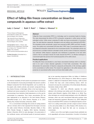 Effect of falling-film freeze concentration on bioactive compounds in aqueous coffee extract
