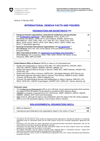 INTERNATIONAL GENEVA FACTS AND FIGURES