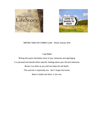 WRITING YOUR LIFE STORIES