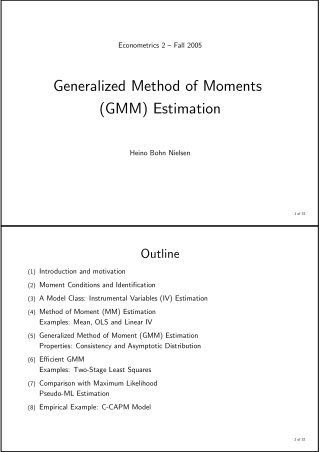 Generalized Method of Moments (GMM) Estimation