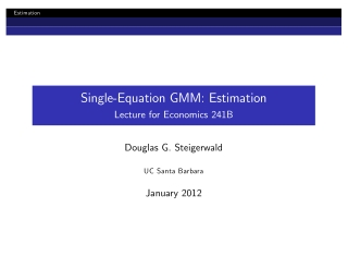 Single-Equation GMM: Estimation