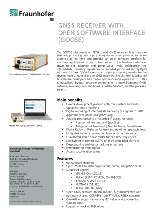 GNSS RECEIVER GNSS RECEIVER WITH OPEN SO OPEN SOF FTWARE INTERFACE TWARE INTERFACE (GOOSE) (GOOSE) WITH