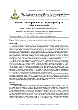 Effect of cooking method on the mutagenicity of bitter gourd extracts