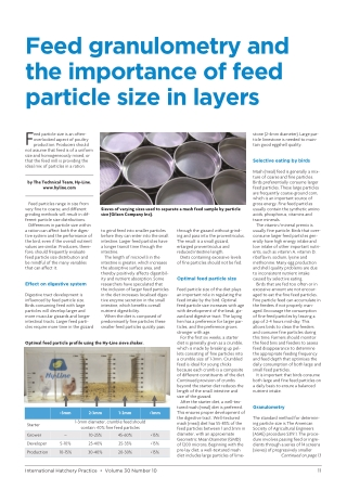 Feed granulometry and the importance of feed particle size in layers