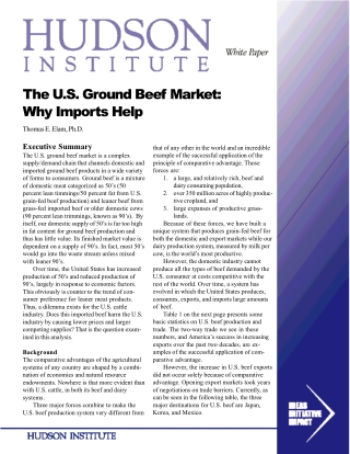 The U.S. Ground Beef Market: Why Imports Help