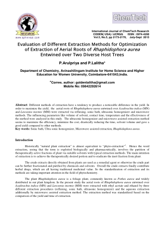 Evaluation of Different Extraction Methods for Optimization of Extraction of Aerial Roots of