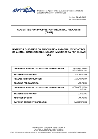COMMITTEE FOR PROPRIETARY MEDICINAL PRODUCTS (CPMP) NOTE FOR GUIDANCE ON PRODUCTION AND QUALITY CONTROL OF ANIMAL IMMUNOGLOBULINS AND IMMUNOSERA FOR HUMAN USE