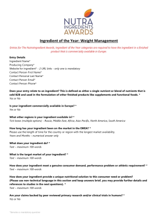 Ingredient of the Year: Weight Management