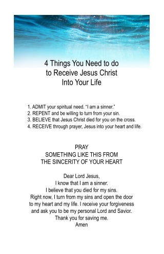 4 Things You Need to do to Receive Jesus Christ Into Your Life