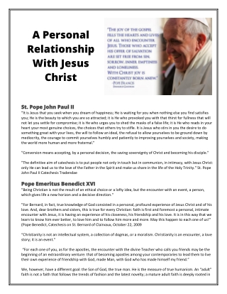 A Personal Relationship With Jesus Christ