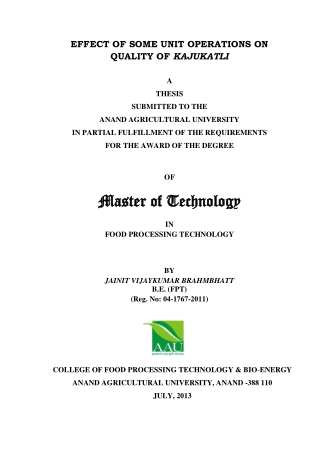 Master of Technology Master of Technology