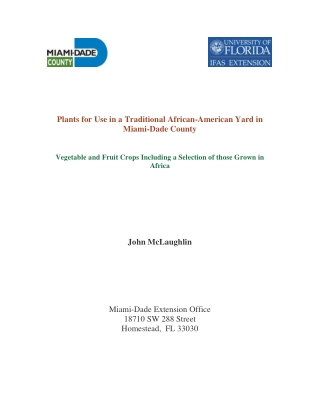 Plants for Use in a Traditional African-American Yard in Miami-Dade County