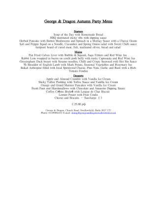George & Dragon Autumn Party Menu George & Dragon Autumn Party Menu