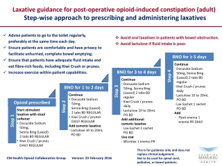 Step-wise approach to prescribing and administering laxatives