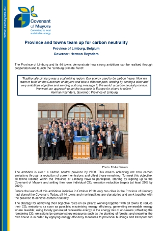 Province and towns team up for carbon neutrality