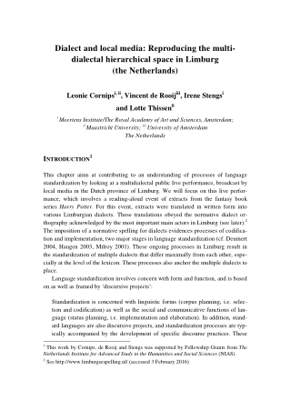 Dialect and local media: Reproducing the multi- dialectal hierarchical space in Limburg (the Netherlands)