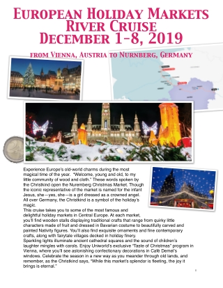 European Holiday Markets River Cruise December 1-8, 2019