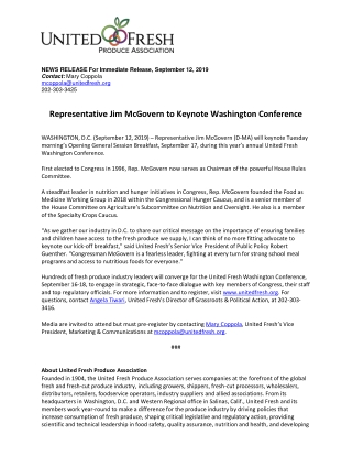 Representative Jim McGovern to Keynote Washington Conference
