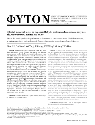 Effect of mixed salt stress on malondialdehyde, proteins and antioxidant enzymes of