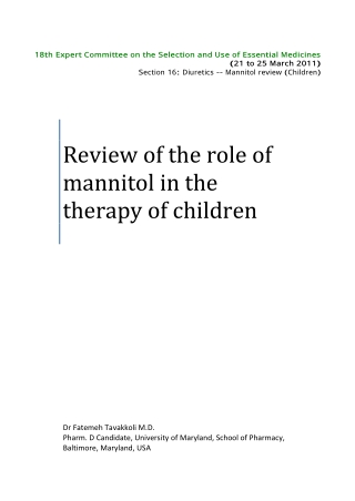 Review of the role of  mannitol in the  therapy of children