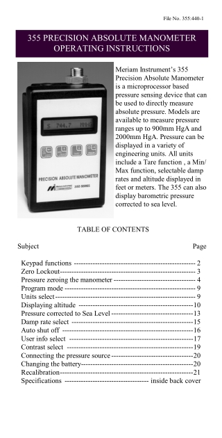 355 PRECISION ABSOLUTE MANOMETER OPERATING INSTRUCTIONS 355 PRECISION ABSOLUTE MANOMETER OPERATING INSTRUCTIONS