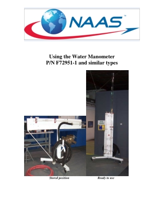 Using the Water Manometer P/N F72951-1 and similar types