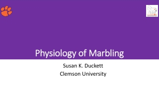 Physiology of Marbling Physiology of Marbling