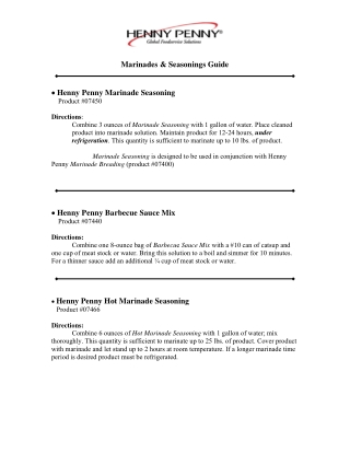 Marinades & Seasonings Guide