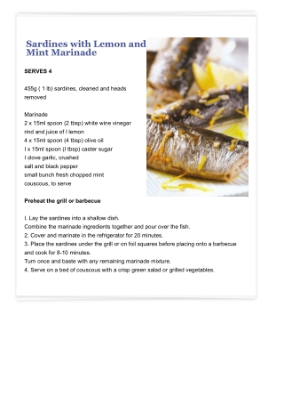Sardines with Lemon and Mint Marinade