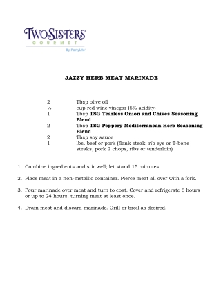 JAZZY HERB MEAT MARINADE