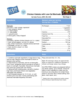 Chicken Kabobs with Low-Cal Marinade
