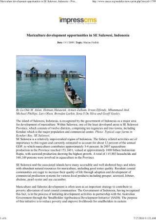 Mariculture development opportunities in SE Sulawesi, Indonesia