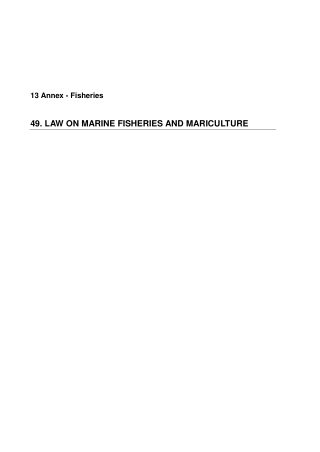 49. LAW ON MARINE FISHERIES AND MARICULTURE