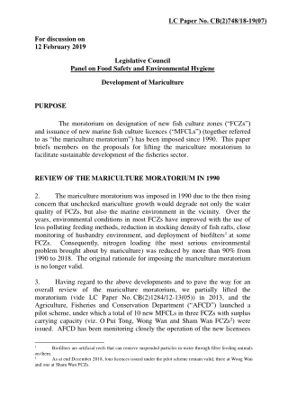 For discussion on 12 February 2019 Legislative Council Panel on Food Safety and Environmental Hygiene Development of Mariculture PURPOSE