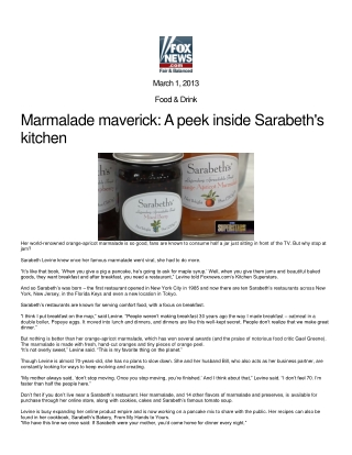 Marmalade maverick: A peek inside Sarabeth's kitchen