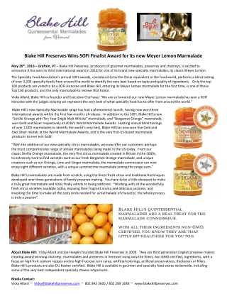 Blake Hill Preserves Wins SOFI Finalist Award for its new Meyer Lemon Marmalade