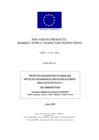 PDO AND PGI PRODUCTS: MARKET, SUPPLY CHAINS AND INSTITUTIONS