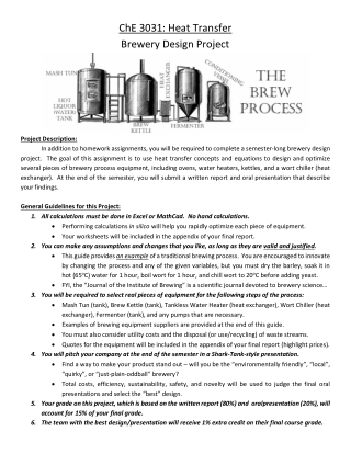 ChE 3031: Heat Transfer Brewery Design Project