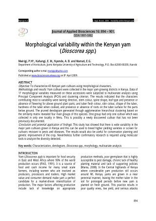 Morphological variability within the Kenyan yam (